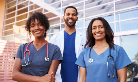 three happy nurses